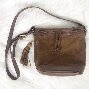 Faux Leather Tassel Brown Bucket Bag FLAW